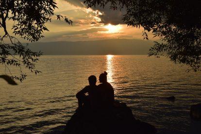 Залез над плаж Лабино в Охрид